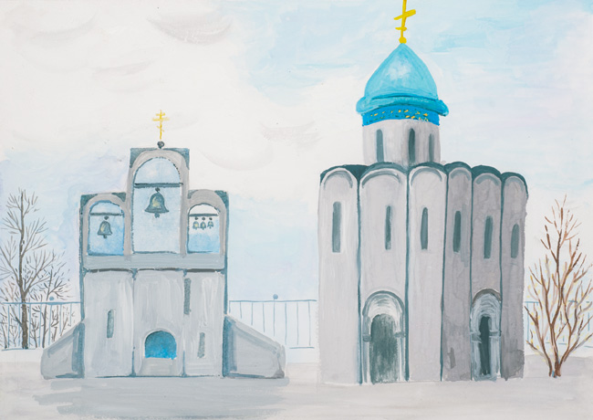 Protection of the Holy Virgin, the village Marmyzhi,  :Children's Art Festival Our Kursk: CHILDREN DRAW THE CHURCH