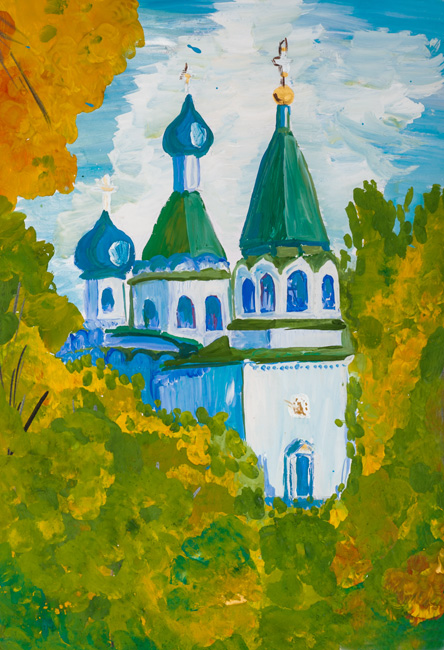 Nativity of the Virgin, Root Hermitage,  :Children's Art Festival Our Kursk: CHILDREN DRAW THE CHURCH