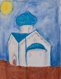 In the still of the night, Lyubortsev Eugene : Children's Art Festival Our Kursk: CHILDREN DRAW THE CHURCH