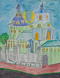 The cathedral, Pihun Vladislav : Children's Art Festival Our Kursk: CHILDREN DRAW THE CHURCH