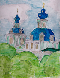 Sergiev Kazan Cathedral, Kursk, Sudakov Ekaterina : Children's Art Festival Our Kursk: CHILDREN DRAW THE CHURCH