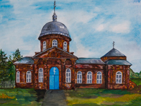 Annunciation Church in the village of Milenin, Andrienko Victoria : Children's Art Festival Our Kursk: CHILDREN DRAW THE CHURCH