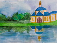 The old church, Ryshkova Maria : Children's Art Festival Our Kursk: CHILDREN DRAW THE CHURCH