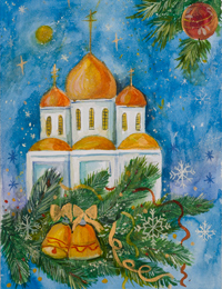 Temple at Christmas, Kovalev Oleg : Children's Art Festival Our Kursk: CHILDREN DRAW THE CHURCH
