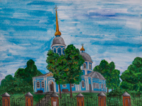 Vvedensky church, bishops courtyard, Volobuev Vladislav : Children's Art Festival Our Kursk: CHILDREN DRAW THE CHURCH