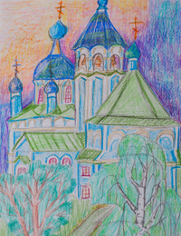 Pokrova Svyatoi Bogoroditsi church , Chernitsynos settlement, Kobyakova Maria : Children's Art Festival Our Kursk: CHILDREN DRAW THE CHURCH