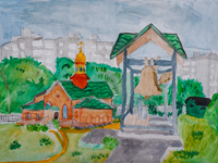 Temple of Faith, Hope, Charity and their mother Sophia, Malkin Daria : Children's Art Festival Our Kursk: CHILDREN DRAW THE CHURCH