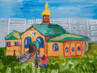 Vera, Nadezhda, Lubov and their mother Sophia temple, Shamardina Ekaterina : Children's Art Festival Our Kursk: CHILDREN DRAW THE CHURCH