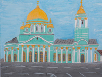 Cathedral of the Sign, Torchukova Anastasia :: Children's Art Festival Our Kursk: CHILDREN DRAW THE CHURCH