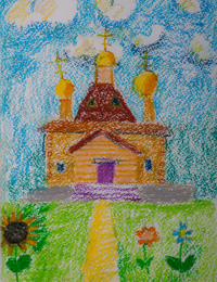 Church of St. Seraphim of Sarov in the street Soyuznoy, Pletnev Veronica :: Children's Art Festival Our Kursk: CHILDREN DRAW THE CHURCH