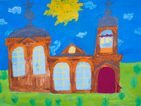 Temple of St. Seraphim of Sarov (Gypsy hillock), Levitsky Xenia : Children's Art Festival Our Kursk: CHILDREN DRAW THE CHURCH