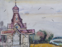 Chapel of the Holy well in the river Tuskar, Ivolgina Pauline : Children's Art Festival Our Kursk: CHILDREN DRAW THE CHURCH