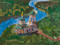 Vvedensky church, village Kapystichi, Boyko Yaroslav : Children's Art Festival Our Kursk: CHILDREN DRAW THE CHURCH