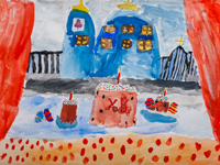 Znamensky cathedral at Easter, Karasev Alexander : Children's Art Festival Our Kursk: CHILDREN DRAW THE CHURCH