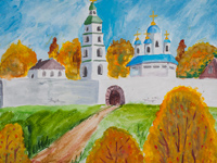 Alexeys Church, the Gods person in Zolotukhino, Tolstosheeva Ekaterina : Children's Art Festival Our Kursk: CHILDREN DRAW THE CHURCH