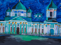 "Znamensky Cathedral, ""Starry Night"", Kharlamov Ekaterina : Children's Art Festival Our Kursk: CHILDREN DRAW THE CHURCH"