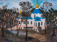 The new church, Vorobeva Polina : Children's Art Festival Our Kursk: CHILDREN DRAW THE CHURCH