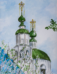 Domes of Nizhne Troitskaya church, Grechukhina Elizabeth : Children's Art Festival Our Kursk: CHILDREN DRAW THE CHURCH