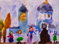 In anticipation of the icons in the Vvedensky church, Kursk, Potapova Kseniya :: Children's Art Festival Our Kursk: CHILDREN DRAW THE CHURCH