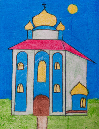 Kursk shrine, Shahova Olga : Children's Art Festival Our Kursk: CHILDREN DRAW THE CHURCH