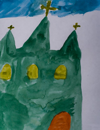 Holy Trinity Church, village Glushkovo, Borivskaya Christina :: Children's Art Festival Our Kursk: CHILDREN DRAW THE CHURCH