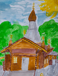 Temple of St. Seraphim of Sarov, Kursk, street Soyuznaya, Ivakina Mariya :: Children's Art Festival Our Kursk: CHILDREN DRAW THE CHURCH