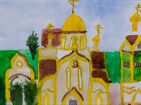 The temple of the Holy Royal Martyrs, Kursk, street Progulochnaya, Skibina Daria :: Children's Art Festival Our Kursk: CHILDREN DRAW THE CHURCH
