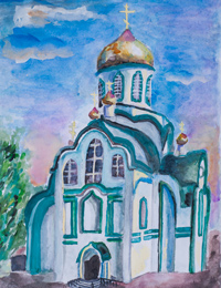 Holy Trinity Church, village Manturovo, Rudenskaya Olga : Children's Art Festival Our Kursk: CHILDREN DRAW THE CHURCH