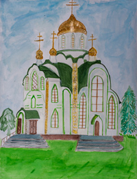 Trinity Church, village Manturovo, Lukyanchikova Ekaterina : Children's Art Festival Our Kursk: CHILDREN DRAW THE CHURCH