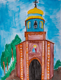 Church of the Archangel Michael, the village cellars Sudzhansky area, Kadurina Xenia : Children's Art Festival Our Kursk: CHILDREN DRAW THE CHURCH