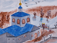 The temple in the town of Freedom, Kondaurov Anton : Children's Art Festival Our Kursk: CHILDREN DRAW THE CHURCH