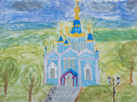 Nativity of the Blessed Virgin Mary, Root Hermitage, Krasnikova Yana : Children's Art Festival Our Kursk: CHILDREN DRAW THE CHURCH