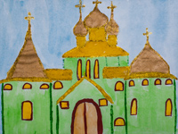 The temple in the town of Freedom, Voronin Dmitry : Children's Art Festival Our Kursk: CHILDREN DRAW THE CHURCH