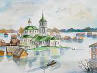 Nicholas Church in Streletskoy settlement, Penchukova Daria : Children's Art Festival Our Kursk: CHILDREN DRAW THE CHURCH