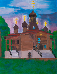 The temple in the park Seraphim, Shinkarenko Taisa : Children's Art Festival Our Kursk: CHILDREN DRAW THE CHURCH