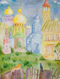 Old town, Emelyanov Elena : Children's Art Festival Our Kursk: CHILDREN DRAW THE CHURCH