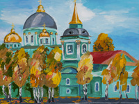 Golden Autumn. Cathedral of the Sign, Sergeeva Olga :: Children's Art Festival Our Kursk: CHILDREN DRAW THE CHURCH