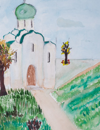 Temple in the village Zorin, Lushpa Alexander : Children's Art Festival Our Kursk: CHILDREN DRAW THE CHURCH