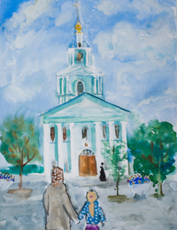 Sergiev Kazan Cathedral, Kursk, Masalsky Pauline : Children's Art Festival Our Kursk: CHILDREN DRAW THE CHURCH