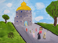Church in the village of Upper Apochki, Soviet area, Shamova Anastasia : Children's Art Festival Our Kursk: CHILDREN DRAW THE CHURCH
